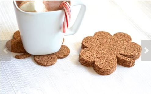 Shamrock Cork Coasters https://www.etsy.com/listing/169617125/shamrock-shaped-cork-coasters-and?ref=market