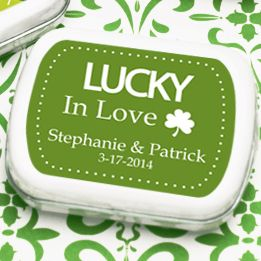 Favors and Flowers http://www.favorsandflowers.com/lucky-in-love-shamrock-personalized-mint-tins.htm