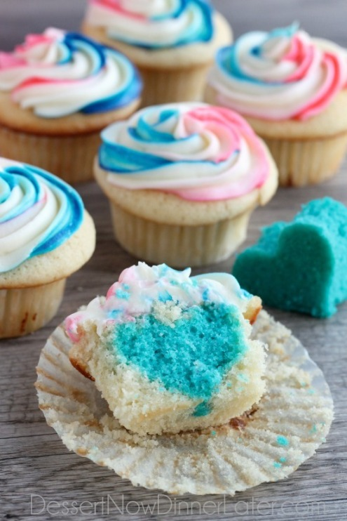 Photo From Dessert Now, Dinner Later http://www.dessertnowdinnerlater.com/2015/02/gender-reveal-cupcakes/